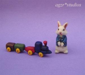 1:12 handmade standing white bunny
