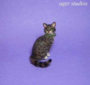 Ooak 1:12 dollhouse tabby cat handmade furred realistic