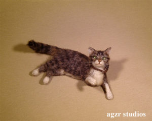 1:12 dollhouse tabby cat kitten handmade furred realistic