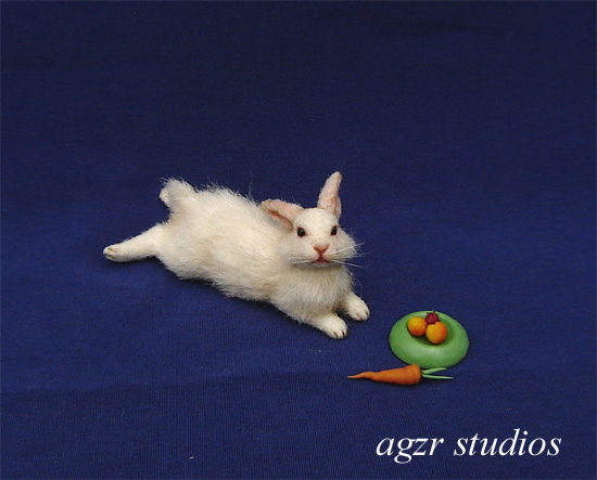 1:12 furred miniature lying white bunny dollhouse realistic