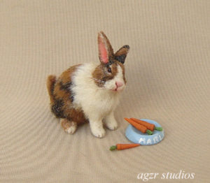 1:12 dollhouse furred miniature calico harlequin bunny rabbit ooak diorama roombox cage