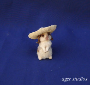 1:12 dollhouse furred miniature standing lop bunny rabbit hat