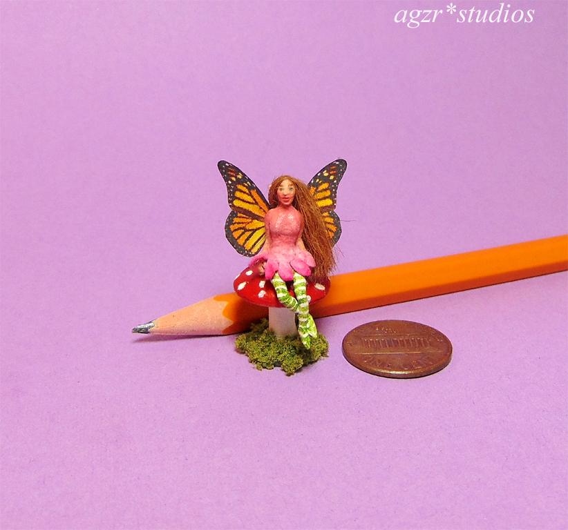 Ooak miniature 1:12 Sculpture Doll Fairy Fae Handmade in polymer clay by A Gabriela Z Rodriguez