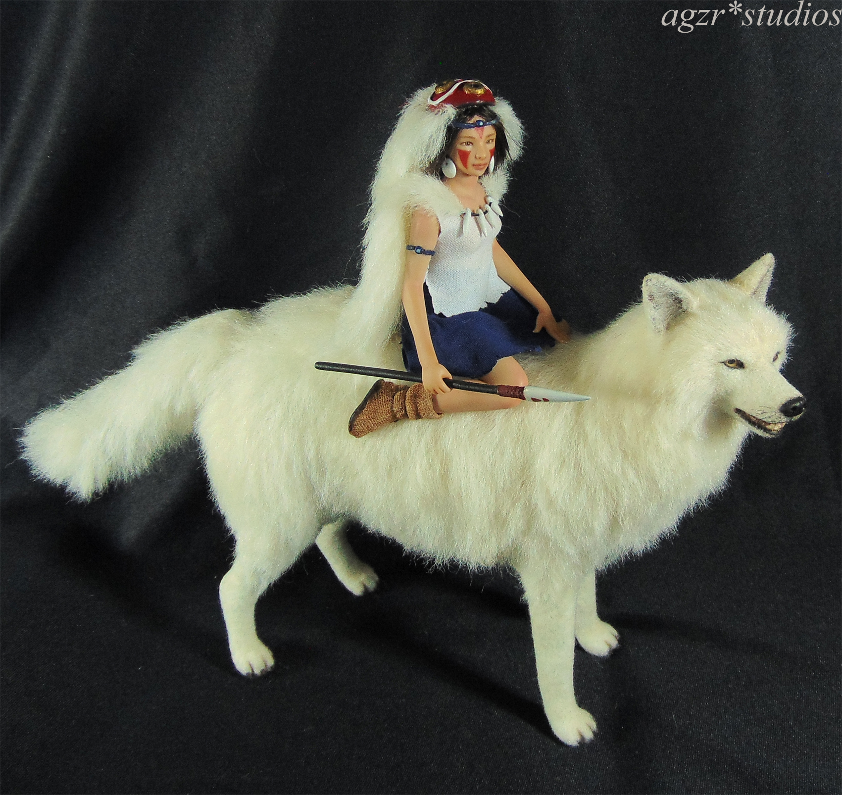 Princess Mononoke Art Doll Diorama Dollhouse Miniature 1:12 Scale Wolf
