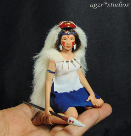 Princess Mononoke Miniature Doll Sculpture Art 1:12 scale Dollhouse Diorama agzr studios