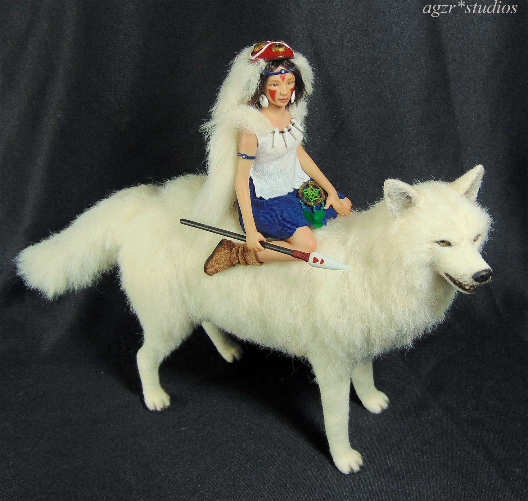 The Princess Mononoke Miniature Doll Wolf Dollhouse 1:12 scale agzr studios