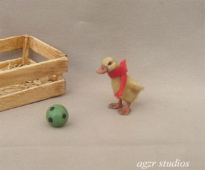 Ooak 1:12 dollhouse miniature duckling furred
