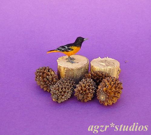 1:12 miniature baltimore oriole bird feathered realistic dollhouse roombox diorama