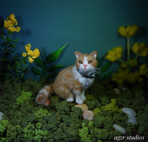 Ooak 1:12 dollhouse sitting cat kitten handmade furred realistic