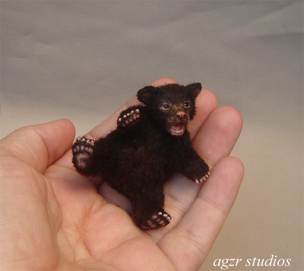 Ooak 1:12 scale lying black bear cub
