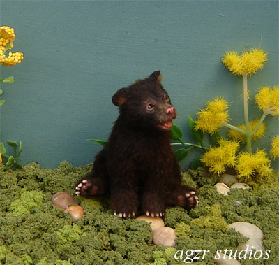 Ooak 1:12 scale black bear cub