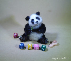 Ooak 1:12 scale Panda bear cub baby dollhouse