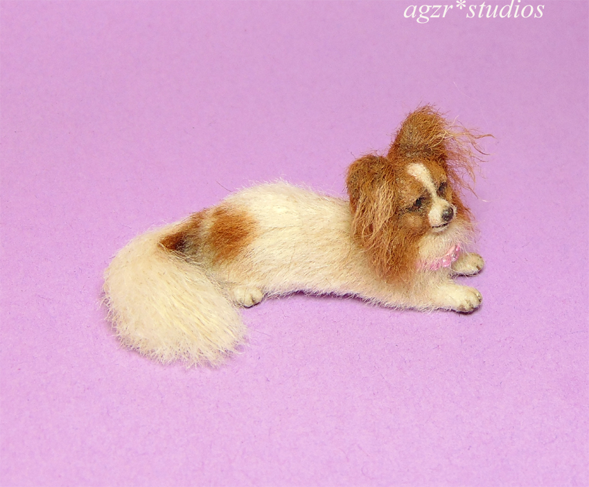 Ooak 1:12 dollhouse miniature papillon dog lifelike pet furred realistic