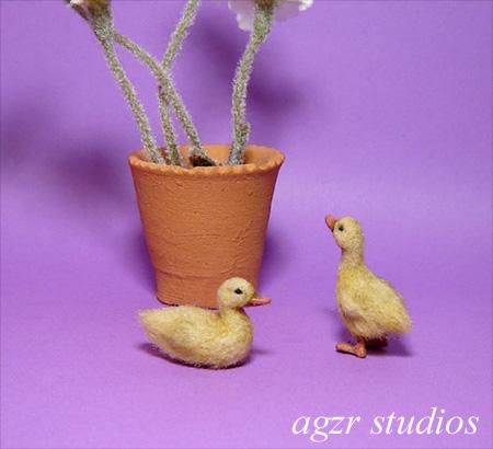Ooak 1:12 dollhouse miniature couple ducklings furred handmade dollhouse diorama