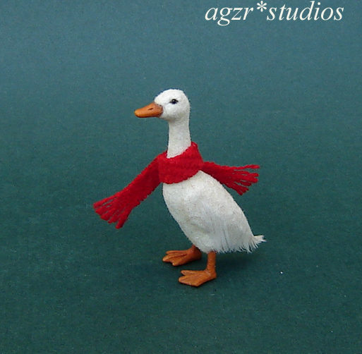 1:12 miniature runner duck feathered handcrafted ooak for dollhouse diorama