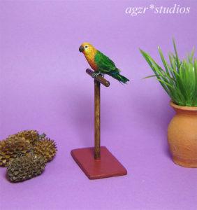 1:12 ooak miniature sun conure parrot bird pet lifelike handmade & perch
