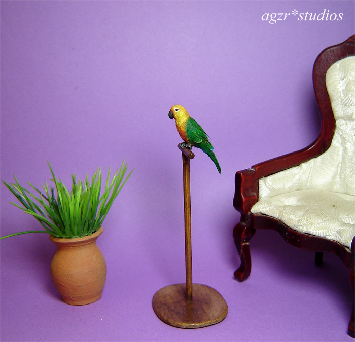 1:12 ooak miniature sun conure parrot  bird lifelike handmade & perch