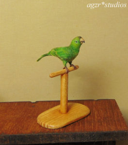 1:12 miniature conure parrot green handmade realistic & perch ooak feathered
