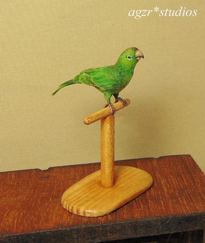 Handmade 1:12 miniature Conure Parrot furred realistic dollhouse