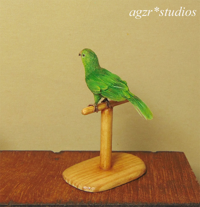 1:12 miniature conure parrot green handmade realistic & perch feathered ooak