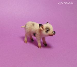 1:12 dollhouse miniature micro pig piglet pet animal realistic miniature