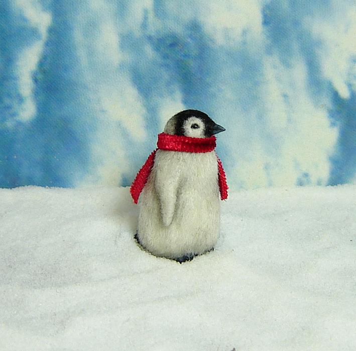 Ooak 1:12 dollhouse miniature emperor penguin chick baby lifelike