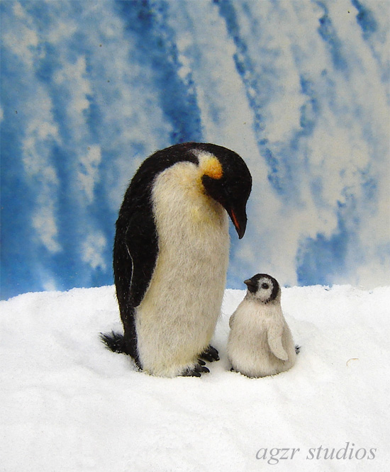 Ooak 1:12 dollhouse miniature emperor penguins adult chick
