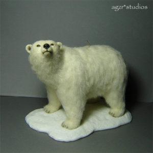 Ooak 1:12 dollhouse miniature polar bear handmade furred