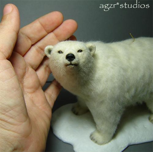 Ooak 1:12 dollhouse miniature polar bear lifelike furred animal