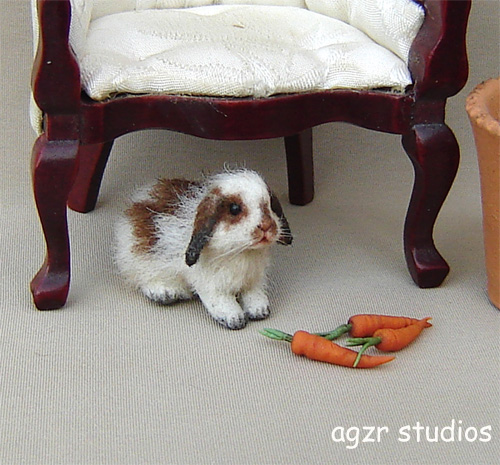 1:12 furred miniature lop bunny rabbit