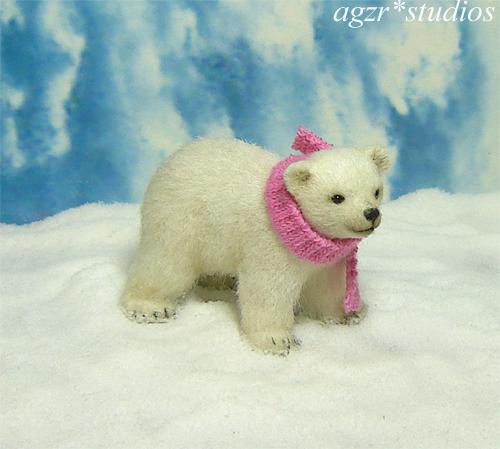 Ooak 1:12 dollhouse miniature polar bear cub animal