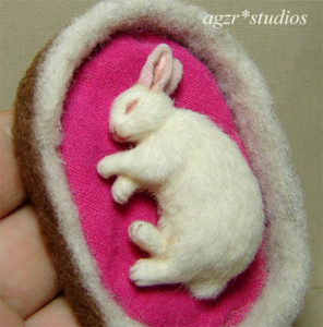 1:12 dollhouse sleeping white bunny rabbit handmade furred