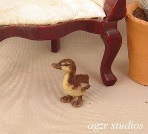 Ooak 1:12 dollhouse miniature mallard duckling furred