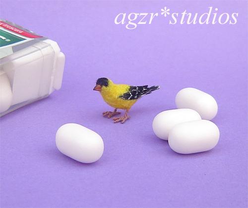 1:12 american goldfinch bird handmade feathered realistic dollhouse diorama roombox