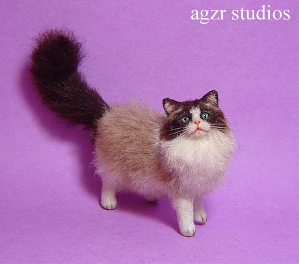 Ooak 1:12 dollhouse ragdoll cat handmade & furred realistic