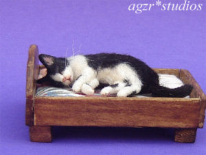 Ooak 1:12 sleeping black white cat handmade & furred realistic