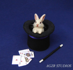 1:12 miniature white bunny rabbit inside magician top hat magic wand cards funny