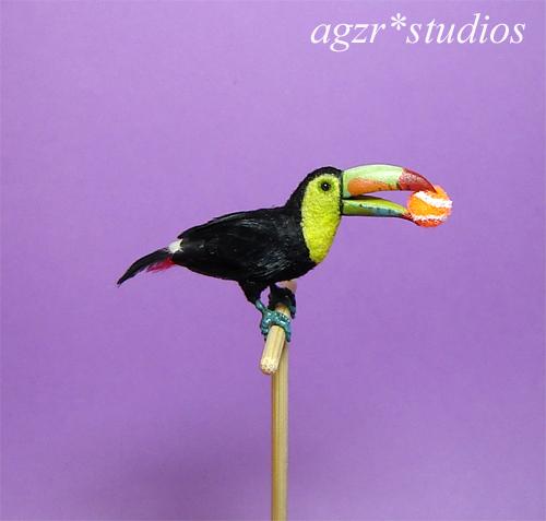 Ooak 1:12 dollhouse miniature keel billed toucan bird feathered
