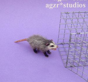 Ooak 1:12 furred miniature opossum possum pet animal realistic and cage