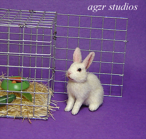1:12 furred miniature white bunny rabbit cage ooak realistic