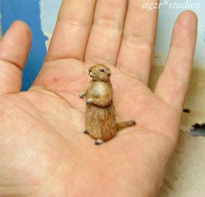1:12 miniature furred prairie dog realistic handmade dollhouse diorama