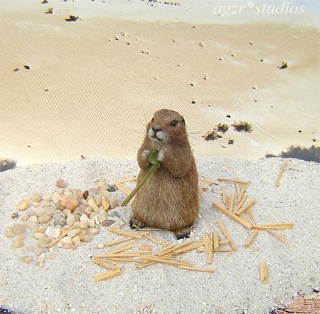 1:12 miniature furred prairie dog wild animal pet