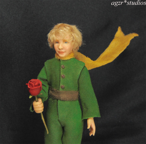 1;12 the little prince fox sculpture art doll dollhouse diorama roombox agzr studios