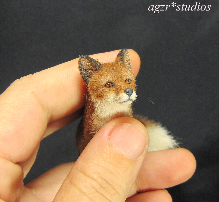 Ooak 1:12 miniature red fox realistic animal wild dog handsculpted pet dollhouse diorama roombox