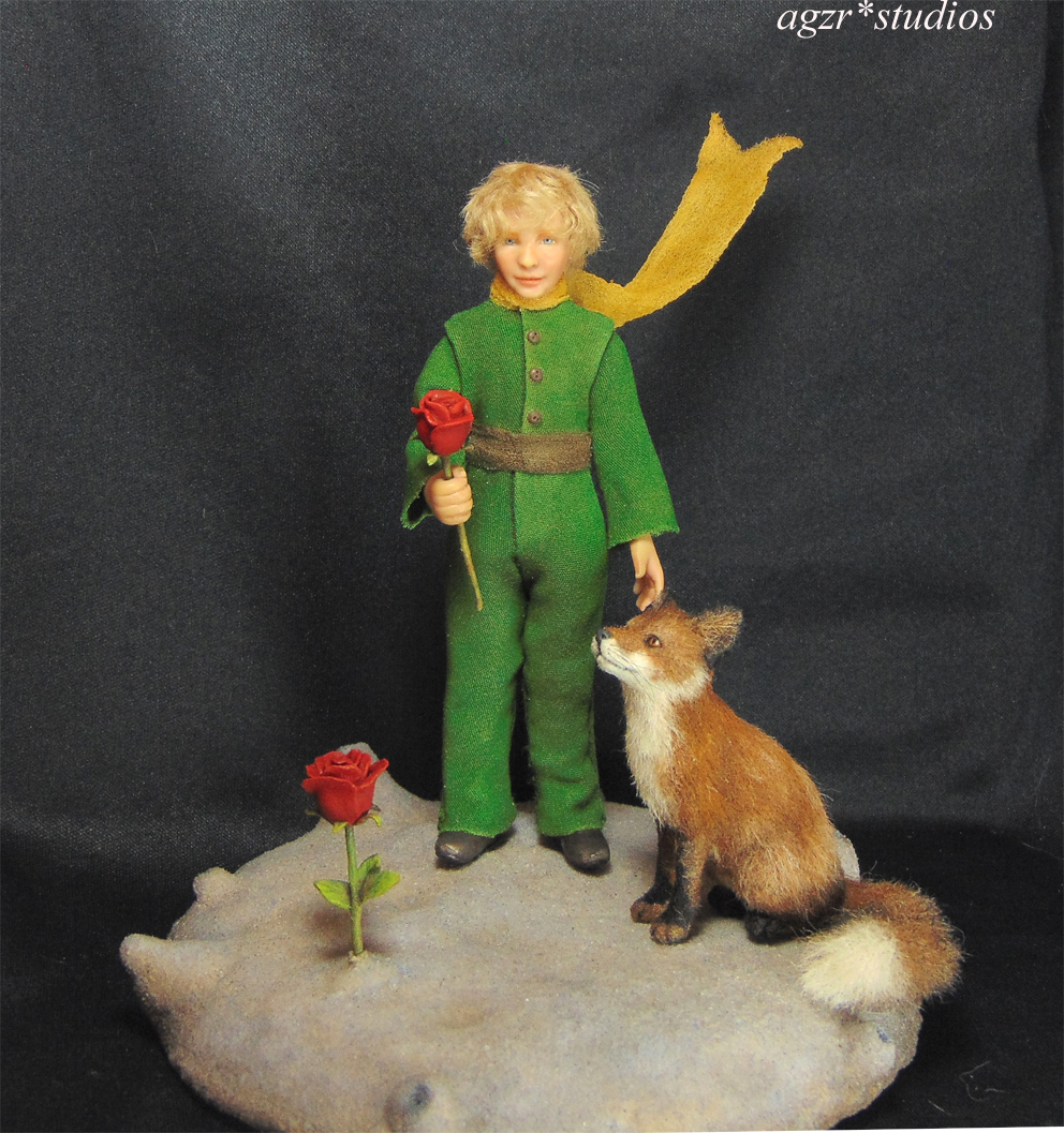 The little prince & fox 1:12 scale Miniature sculpture doll handcrafted in polymer clay for roombox dollhouse agzr studios