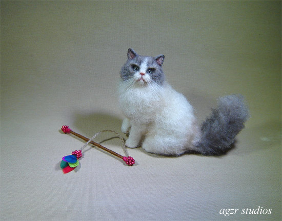 Ooak 1:12 dollhouse sitting ragdoll cat kitten handmade furred realistic