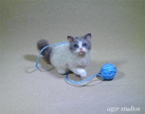 Ooak 1:12 dollhouse baby ragdoll cat kitten handmade furred realistic