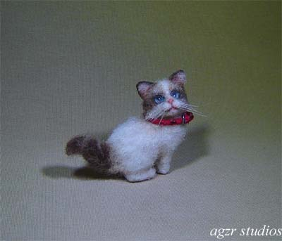 1:12 miniature dollhouse ragdoll kitten furred