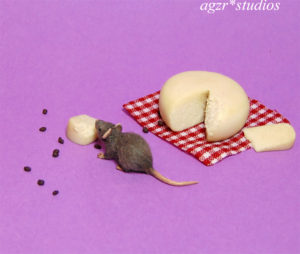 1:12 scale furred miniature grey rat mouse eating cheese handmade