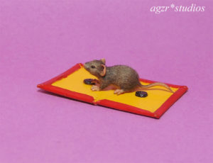dollhouse miniature 1:12 scale gray rat mouse handmade furred
